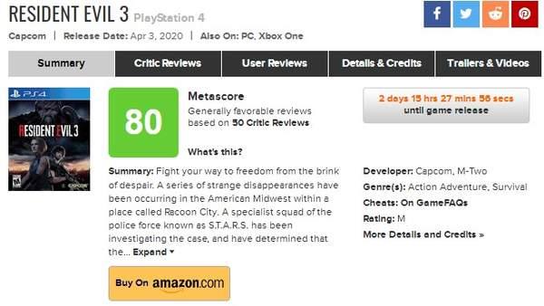 《生化3:重制版》媒体评分解禁 M站均分80多数好评