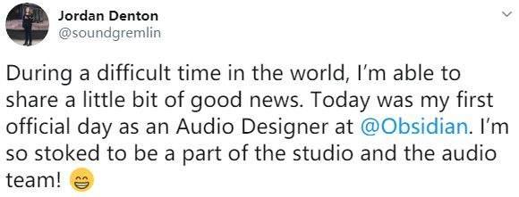 曾负责《美国末日2》音效设计师加入黑曜石工作室