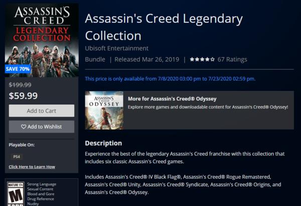 《刺客信条:传奇合集》上架PS/Xbox商城 包含6部作品