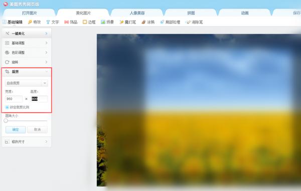 美图秀秀将图片尺寸设成960*800的操作流程截图